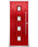 The Leicester Composite Door in Red with Clear Glazing