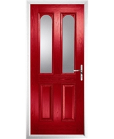 The Aberdeen Composite Door in Red with Clear Glazing