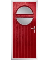 The Queensbury Composite Door in Red with Clear Glazing