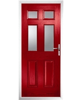The Oxford Composite Door in Red with Clear Glazing