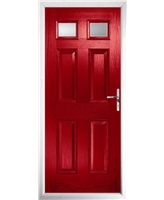The Ipswich Composite Door in Red with Clear Glazing