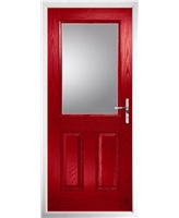 The Farnborough Composite Door in Red with Clear Glazing
