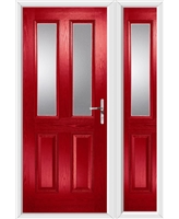 The Cardiff Composite Door in Red with Clear Glazing and matching Side Panel