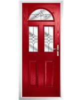 The Glasgow Composite Door in Red with Clear Crystal Bohemia