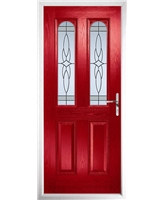 The Aberdeen Composite Door in Red with Crystal Harmony Frost