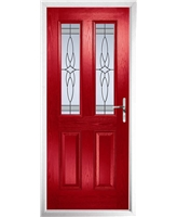 The Cardiff Composite Door in Red with Crystal Harmony Frost