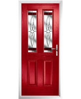 The Cardiff Composite Door in Red with Red Crystal Harmony