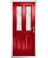 The Cardiff Composite Door in Red with Diamond Cut