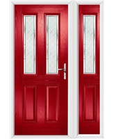 The Cardiff Composite Door in Red with Diamond Cut and matching Side Panel