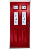 The Oxford Composite Door in Red with Flair Glazing