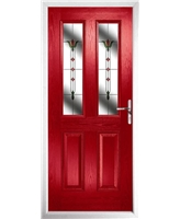 The Cardiff Composite Door in Red with Fleur