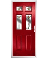 The Oxford Composite Door in Red with Fleur
