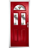 The Glasgow Composite Door in Red with Fleur