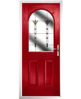 The Edinburgh Composite Door in Red with Fleur