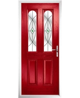 The Aberdeen Composite Door in Red with Green Fusion Ellipse
