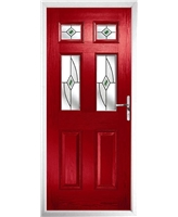 The Oxford Composite Door in Red with Green Fusion Ellipse
