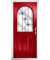 The Edinburgh Composite Door in Red with Blue Fusion Ellipse