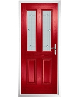 The Cardiff Composite Door in Red with Jewel Glazing