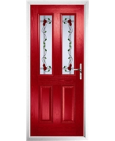 The Cardiff Composite Door in Red with Mackintosh Rose