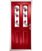 The Aberdeen Composite Door in Red with Red Diamonds
