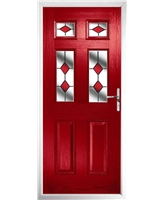 The Oxford Composite Door in Red with Red Diamonds