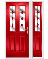 The Cardiff Composite Door in Red with Red Diamonds and matching Side Panel