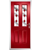 The Cardiff Composite Door in Red with Red Diamonds