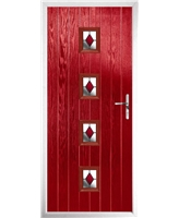 The Uttoxeter Composite Door in Red with Red Diamonds