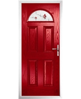 The Derby Composite Door in Red with Red Murano