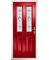 The Cardiff Composite Door in Red with Crystal Diamond