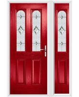 The Aberdeen Composite Door in Red with Crystal Diamond and matching Side Panel