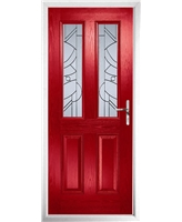 The Cardiff Composite Door in Red with Zinc Art Abstract