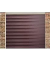 Roller Shutter Garage Door in Mahogany with a textured Woodgrain finish