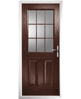 The Kettering Composite Door in Rosewood with Clear Glazing