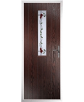 The Sheffield Composite Door in Rosewood with Mackintosh Rose