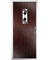 The Taunton Composite Door in Rosewood with Black Diamonds