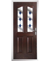 The Birmingham Composite Door in Rosewood with Blue Diamonds