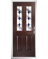 The Cardiff Composite Door in Rosewood with Blue Diamonds