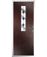 The Sheffield Composite Door in Rosewood with Blue Diamonds