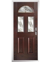 The Glasgow Composite Door in Rosewood with Brass Art Clarity
