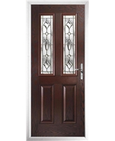 The Cardiff Composite Door in Rosewood with Brass Art Clarity