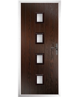 The Uttoxeter Composite Door in Rosewood with Clear Glazing