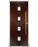 The Leicester Composite Door in Rosewood with Clear Glazing