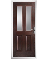 The Cardiff Composite Door in Rosewood with Clear Glazing