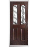 The Aberdeen Composite Door in Rosewood with Crystal Bohemia