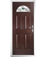 The Derby Composite Door in Rosewood with Green Crystal Bohemia