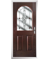 The Edinburgh Composite Door in Rosewood with Red Crystal Bohemia
