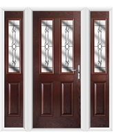 The Cardiff Composite Door in Rosewood with Crystal Bohemia and matching Side Panels