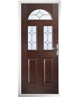 The Glasgow Composite Door in Rosewood with Crystal Diamond