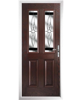 The Cardiff Composite Door in Rosewood with Black Crystal Harmony